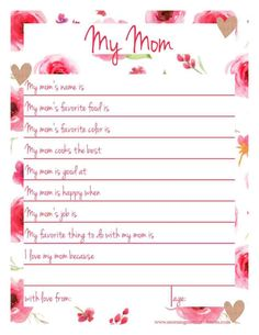 Handmade Gift for Mom - My Mom Printable Page | Mother's Day Free Printable | All About Mom. All About Grandma version too.