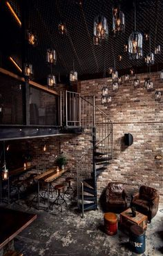 Loft with exposed roof and brick walls | Discover more living room ...