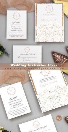 Elegant ivory embossing and laser cut wrap with rose gold monogram wedding invitations EWDK016