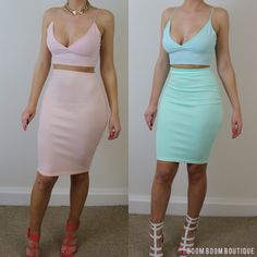 boomboomboutique:  Boom Boom Boutique 'Ci Ci' bodycon two piece in pink & mint. Available here:www.boomboomboutique.com/products/ci-ci £...