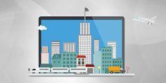 Digital City on Laptop PowerPoint Template | ShareTemplates
