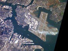 Clouds hover over Boston's Logan Airport. - Visible Earth/NASA