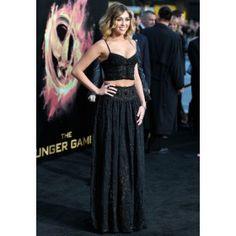 Miley Cyrus Black Spaghetti Straps Gown Celebrity Dress 'The Hunger Games' LA Premiere