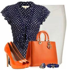 Blue Polk a dot blouse/beige skirt/Orange heels