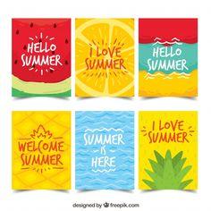 Collection of summer cards Free Vector Graph Design, Graphic Design Pattern, Hello Summer, Free Summer, Summer Beach, Birthday Card Drawing, Posca Art, Diy Canvas Art, Summer Design