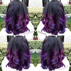 "Hairstylist Ash Fortis recently created this rich, jewel-toned hair color for her client. A dark base serves as the perfect backdrop for pops of magenta, purple and blue for a seriously striking look. Below, Fortis shares her formulas for recreating this gorgeous ""majestic jewels"" hair color.Get the Look:"