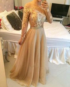 Long sleeve prom dress, gold prom dresses, lace prom dresses, cheap prom dresses, sexy prom dress