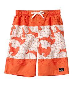 Orange & Cream Shark Board Shorts - Toddler & Boys