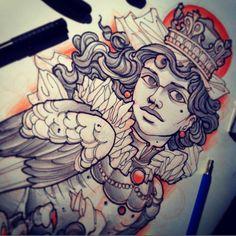 #tattoo #tattooflash #harpy #sketch #sirin #girl