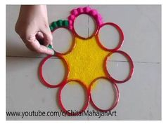 Innovative and Creative Multicolored Rangoli Designs Using Bangles# Easy Rangoli by Shital Mahajan. Easy Rangoli Designs Diwali, Rangoli Simple, Rangoli Designs Latest, Latest Rangoli, Rangoli Ideas, Rangoli Borders, Rangoli Border Designs, Small Rangoli Design, Kolam Designs