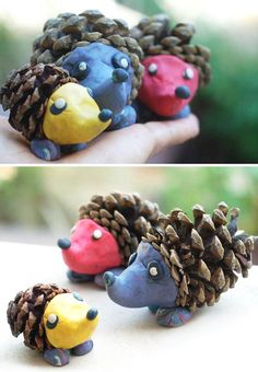 Hedgehog production from cones, molded work activities and samples activity. Acorn Crafts, Leaf Crafts, Pine Cone Crafts, Fun Crafts, Arts And Crafts, Autumn Crafts, Fall Crafts For Kids, Nature Crafts, Art For Kids