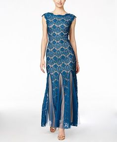 Betsy & Adam Cap-Sleeve Lace Gown