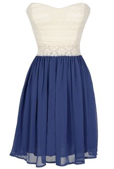 Bright Days Chiffon and Lace Dress in Blue