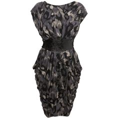 Feather Print V Back Dress