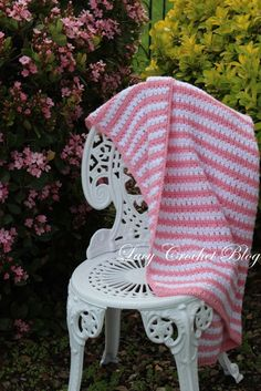 Lacy Crochet: Garden Stripes Baby Blanket or Possibly Lapghan, Free Pattern