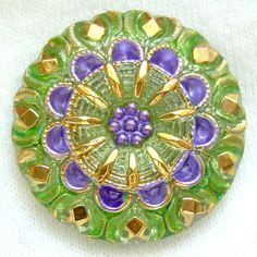 Czech Vaseline Glass Button Purple & Green by ButtonOdyssey