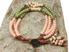 Seed Bead Leather Wrap Bracelet - Boho Leather Wrap Bracelet For Women - Coral, Cream, and Light Olive 4 Strad Bracelet (4ST7)(SW50) by CinfulBeadCreations on Etsy