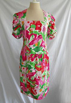 Louis Feraud Dress Vintage 80s Midi Tropical Print Deadstock Dropped Waist 10  #louisFeraud