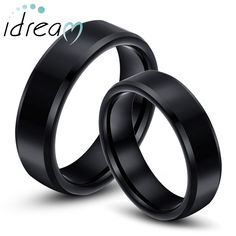 Black Tungsten Wedding Bands Set, Flat Beveled Edges Tungsten Carbide Wedding Bands for Men and Women, Personalized Ring - 4mm - 8mm, Matching Couples Jewelry for Him and Her