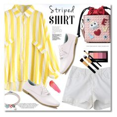 """Striped shirt"" by fshionme ❤ liked on Polyvore featuring Maybelline, e.l.f. and DENIMCUTOFFS"
