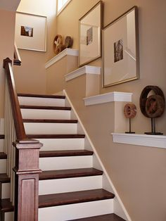 Layer on the Ledges to turn a large blank wall into an art gallery display. Build out the lower portion of a stairway wall a few inches in an exaggerated stair-step pattern. Cap these prime spots with decorative trim and use them to display wall art and show off collections.