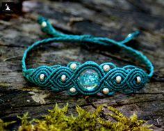 Bracelet Macrame avec perle fluorescente, bracelet fait main, bijoux boho