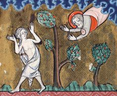 God chasing a naked girl (Song of Songs) - Rothschild Canticles, Flanders 14th century.