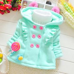 Baby Girl Coat Cardigan Sweaters With Ears Autumn Jacket Casaco Meisjes Infantil Newborn Jacket Outerwear Babies Girls 70D039 #babygirlsweaters
