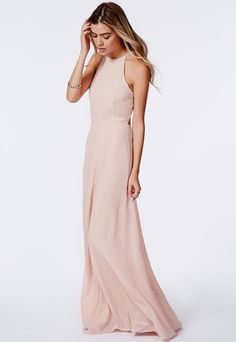 Missguided+Pascaline+High+Neck+Strappy+Maxi+Dress+Nude+on+shopstyle.com