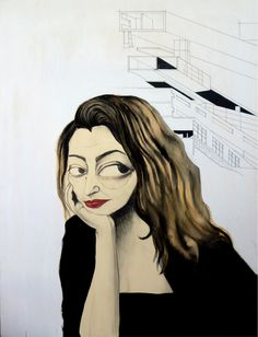 """Zaha Hadit  80x100 cm - tecnica mista su tavola    """"Sono eccentrica, lo ammetto, ma non sono una folle."""""""