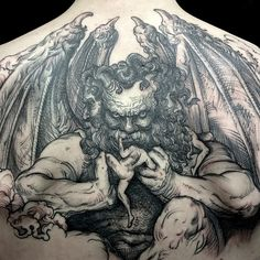 Sick black and white linework woodcut daemon (demon) tattoo by Maud Dardeau