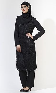 Black Sequin Evening Shalwar Kameez Set