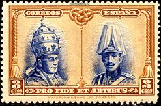 Spain.  SANTIAGO ISSUE FOR THE RESTORATION OF CATACOMBS.  POPE PIUS XI AND KING ALFONSO XIII.  Scott  B77 SP7,  Issued 1928 Dec 23,  Engr, Perf. 12 1/2., 3. /ldb.