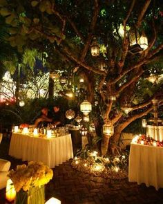 Enchanted forest wedding reception idea More - 23 Fresh Enchanted forest Decorations for Wedding Ideas Wedding Lanterns, Outdoor Wedding Decorations, Lanterns Decor, Outdoor Weddings, Wedding Lighting, Outdoor Parties, Tree Lanterns, Light Wedding, Indoor Lanterns