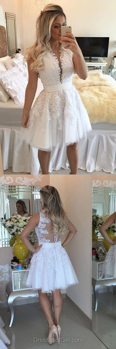 Short Prom Dress, Tulle Prom Dresses, Pearl Homecoming Dress, White Homecoming Dresses, Open Back Cocktail Dresses