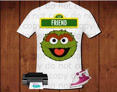 Friend, Sesame Street Oscar the grouch inspired party shirt for iron transfer, printable file instant download, high definition 300dpi