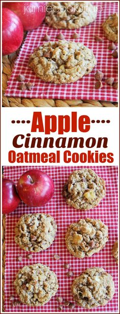 Apple Cinnamon Oatmeal Cookies from Jamie Cooks It Up! These cookies taste like fall with caramelized apples, cinnamon chips and white chocolate chips.