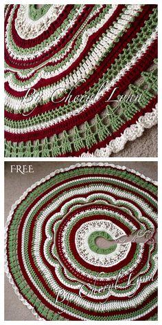 Christmas Tree Skirts Patterns, Christmas Skirt, Merry Christmas, Crochet Christmas Trees, Ribbon On Christmas Tree, Christmas Crochet Patterns, Holiday Crochet, Christmas Knitting, Christmas Tree Toppers