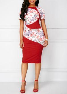 Back Slit Red Short Sleeve Flower Print Dress | Rosewe.com - USD $33.08