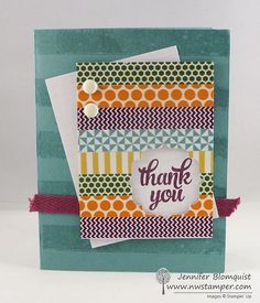 Thank You Card with Washi Tape Background Paper