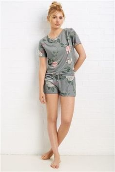 Grey Floral Print Short Set. £24