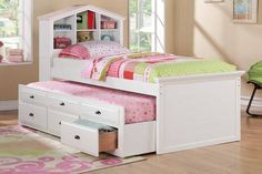 White Bookcase Trundle Bed  F9223