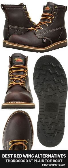 """Thorogood Plain Toe Boot 6"""" - Made in USA Men's boots - cheaper alternatives to Red Wing Heritage Beckham boots - http://www.findyourboots.com/cheaper-alternatives-to-red-wing-heritage-boots/"""
