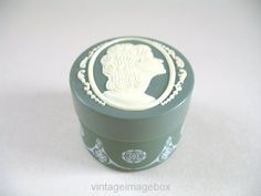 Vintage Cameo vanity jar green and white small by VintageImageBox