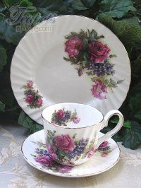 Heirloom Rose Pink Bouquet Bone China Cup, Saucer & Plate Trio