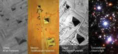 Non seulement nous voyons des pyramides apparaître partout dans le monde, mais elles sont aussi parfois orientées de manière similaires les unes par rapport aux autres.  Les pyramides au sein de ces 3 complexes trouvés en Chine, au Mexique et en Egypte sont orientées précisément de la même manière les unes par rapport aux autres, et on y retrouve également la même orientation par rapport aux étoiles de la constellation nommée Ceinture d'Orion.  https://www.facebook.com/TheResonanceProject.FR