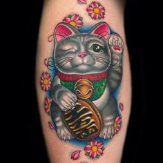 "This is an amazing tattoo by Megan Massacre.  The woman had it designed after her cat ""Lefty"", who came into her life accidentally and made a huge difference...beautiful and a symbol of luck...I love this!"
