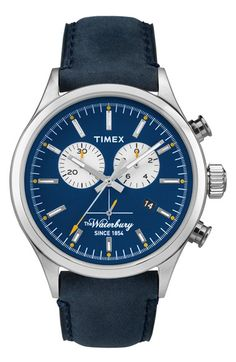Timex The Waterbury Chrono - Horloge - Leer - Blauw - 44 mm Stylish Watches, Luxury Watches, Cool Watches, Casual Watches, Timex Watches, Men's Watches, Best Watches For Men, Latest Watches, Shopping