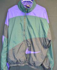 Vintage! Nike! Windbreaker Jacket Black /green/purple 90s Rare! Sz. Large