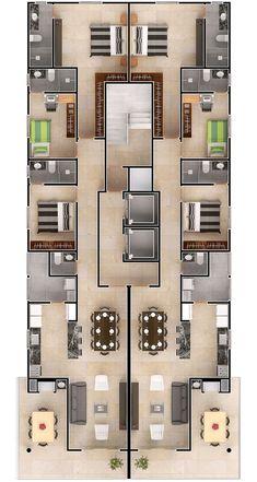 3d House Plans, Duplex House Plans, Apartment Floor Plans, Modern House Plans, Small House Plans, Apartment Layout, Apartment Design, Building Design, Building A House